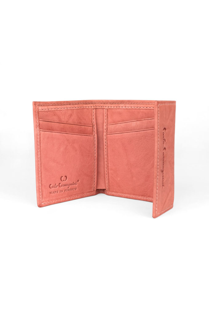 leather wallet, pink wallet, made in italy, carlo carmagnini, soft leather