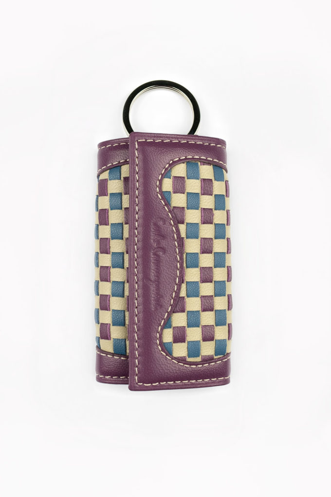 carlo carmagnini, handwoven keychain, woven leather, leather keychain, pink keychain, made in italy, made in florence, made in firenze