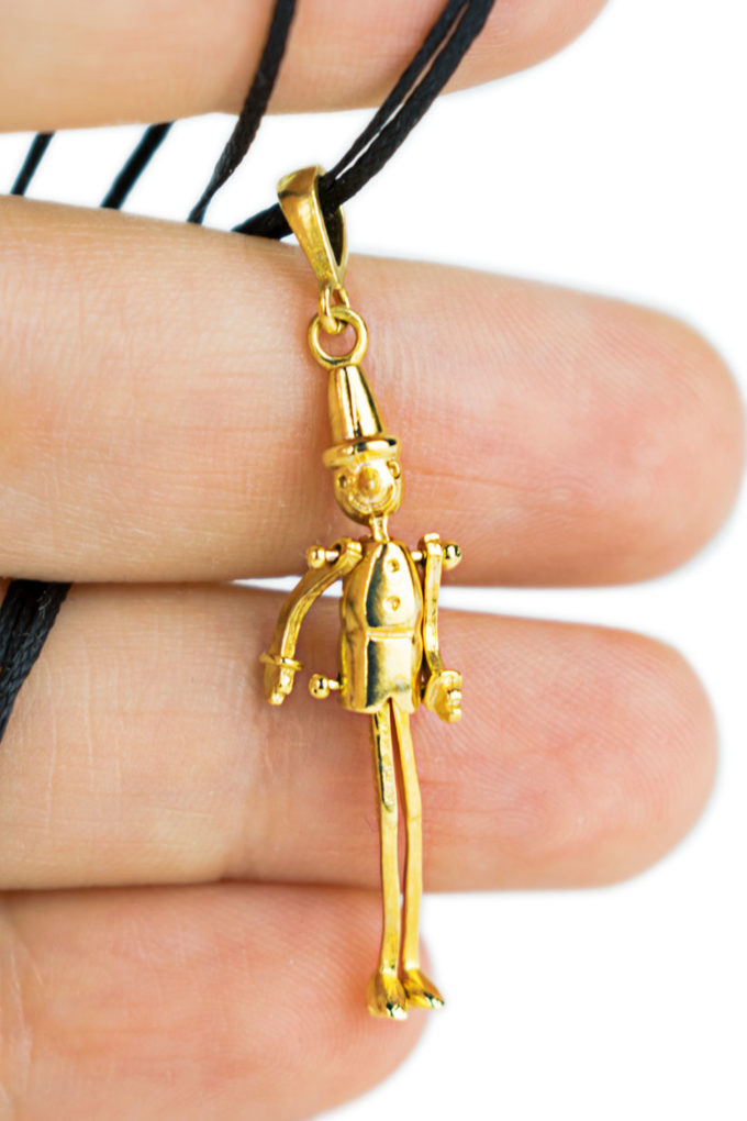 pinocchio, talisman, good luck, charm, pendant, solid brass, gold plated, adrimar, firenze, florence, made in italy, italia, italy, tuscany, toscana