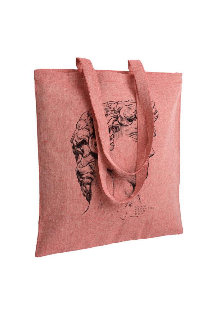 david, michelangelo buonarroti, firenze, florence, tote bag, souvenir, illustration, inkc souvenirs, inkc studios, inkc, adrimar, adrimar firenze, tote bag italy